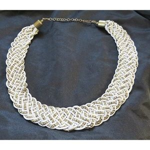 Vintage Collar Necklace White Rope Braided